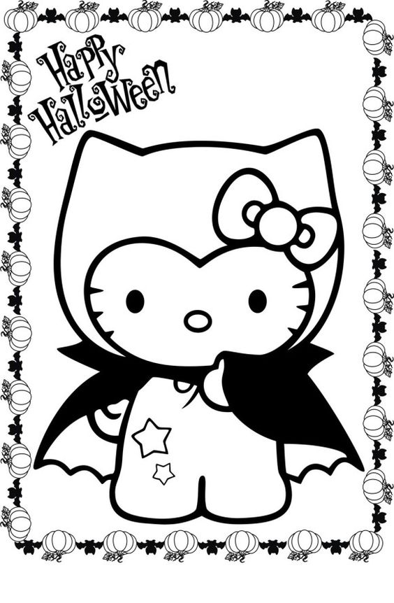 Hello Kitty Coloring Pages Costume Halloween Cartoon
