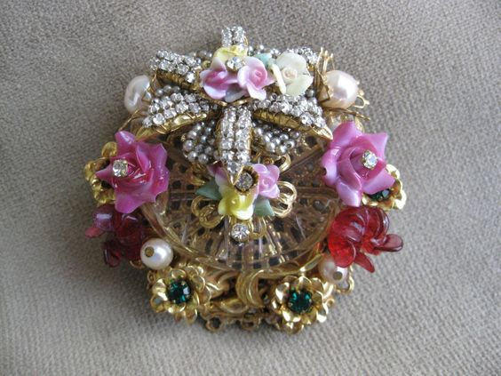 Stanley Hagler Goldtone Filigree Pinkyellow Porcelain Flower Crystal Brooch Pin   eBay