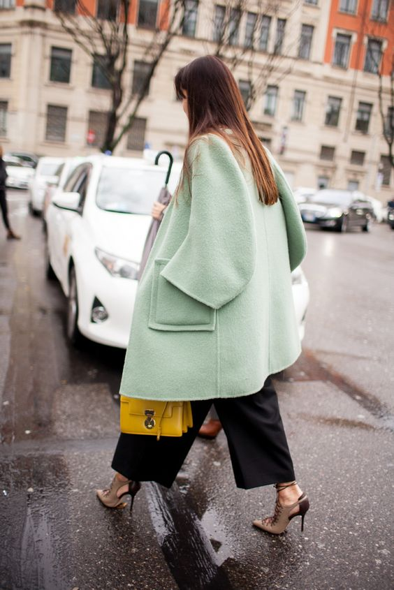 Milan Fashion Week Street Style 2016 | Seafoam green coat [Photo: Kuba Dabrowski]:
