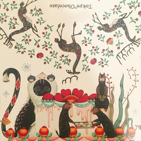 Otters with macaroons. Detail of a chocolate box by #klaushaapaniemi