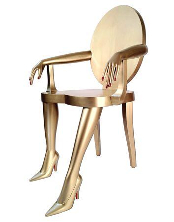 Marjorie Skouras Design.: Gold Chairs, Titi Chair, Chair Design, Funky Chair, Funky Furniture