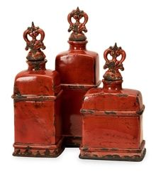 St/3 Tuscan Ceramic Bottles - Distressed Garnet Red Finish with Finial Tops
