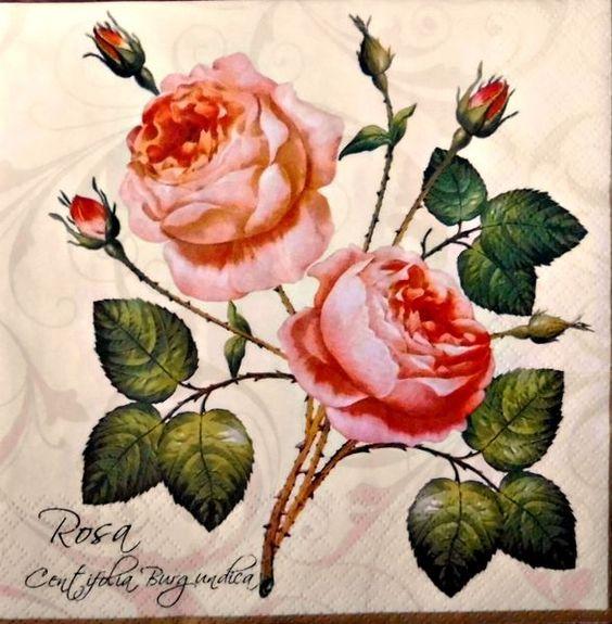 4  Servietten 33 - 33 cm. Rosen von Nerikunst auf DaWanda.com