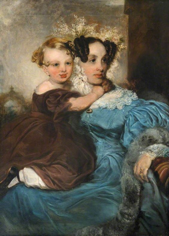 Mrs Lindsell with Her Daughter Annie c. 1842 by John Robert Wildman: