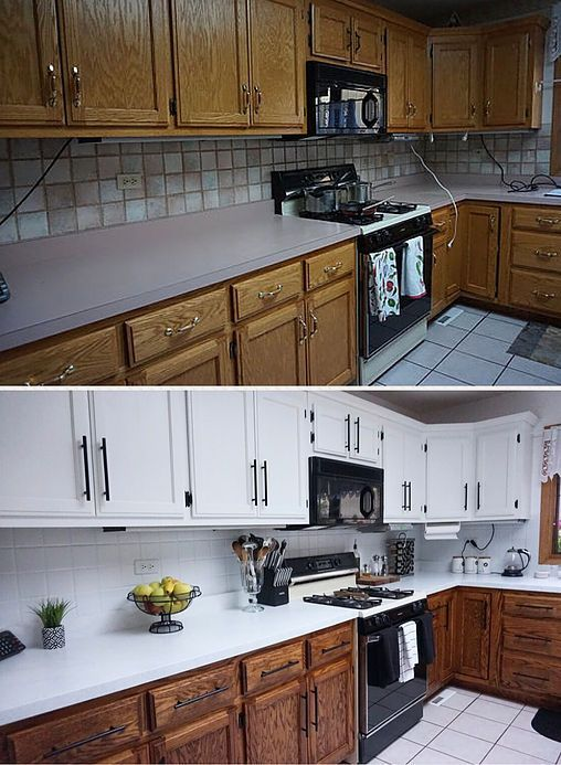 How I Painted My Cabinets Without Sanding Video Stained Kitchen Cabinets Painting Kitchen Cabinets White New Kitchen Cabinets