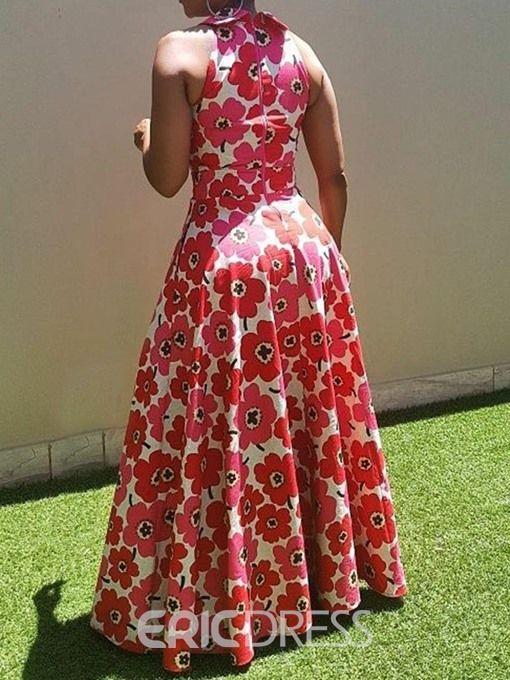 Ericdress Floor Length Sleeveless Print Floral Dress Long African Dresses African Dresses For Women African Dresses Modern