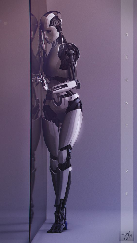 Female humanoid robot concept art, android, companion robot, robotics, future