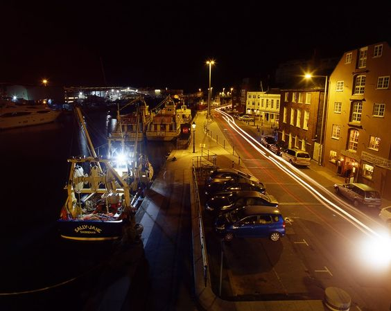 looking west along Poole Quay from Sea Music at night