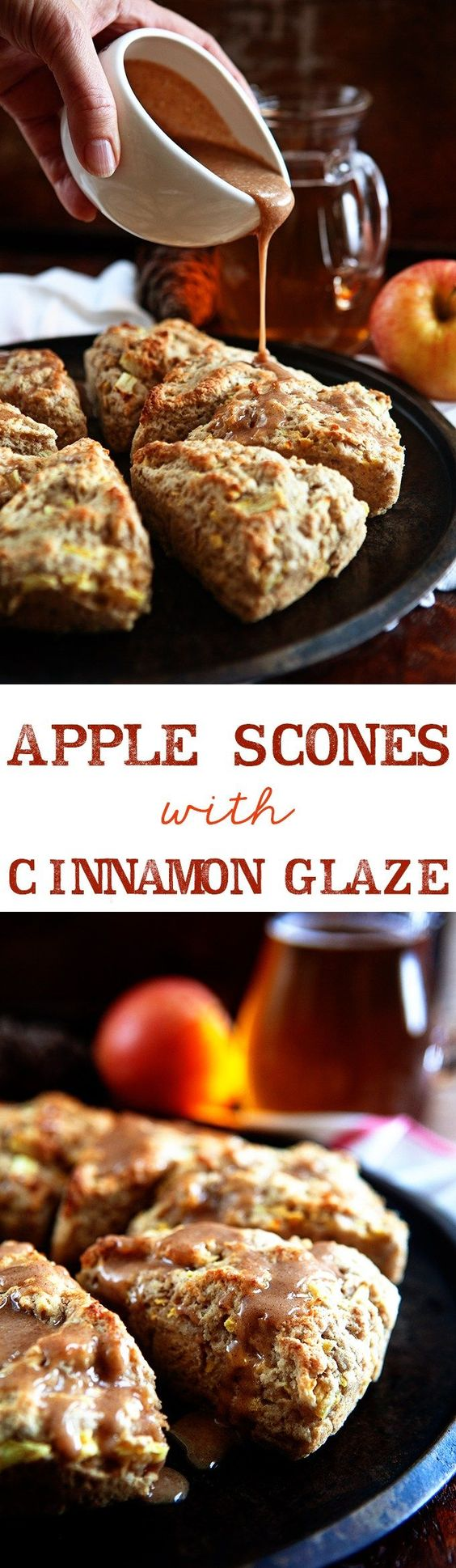 Apple Scones with Apple Cider Cinnamon Glaze: