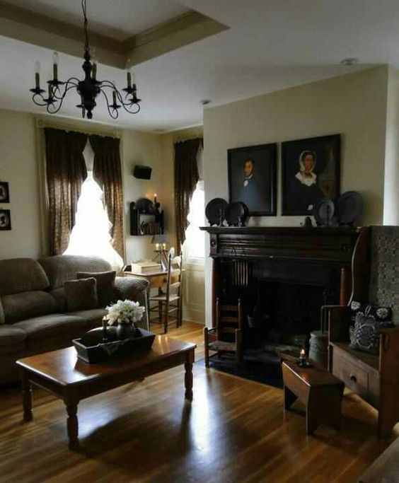 Colonial america abode old world rustic ascetic for Center hall colonial living room ideas