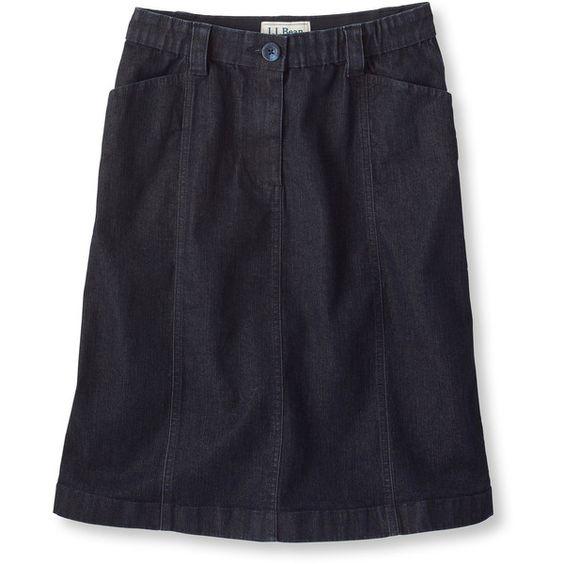 L.L.Bean Easy-Stretch Skirt, Denim Misses ($30) ❤ liked on ...