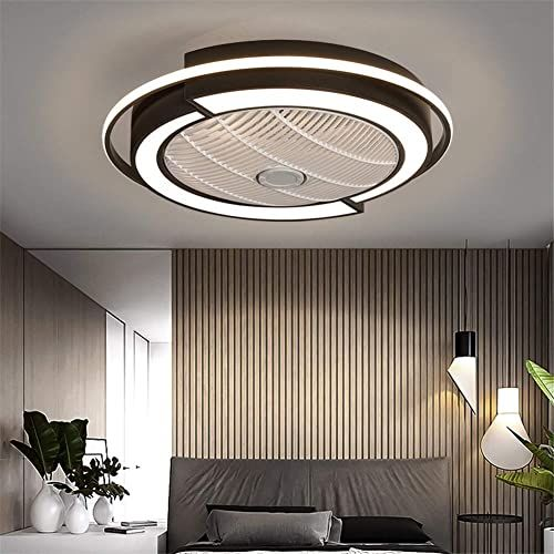 Amazing Offer On Ceiling Fan Lights Modern Led Remote Control Dimmable Hidden Blade Low Profile Semi Flush Mount Enclosed Fandelier Lamp 58cm 23inch Black O In 2020 Ceiling Fan With Light Ceiling