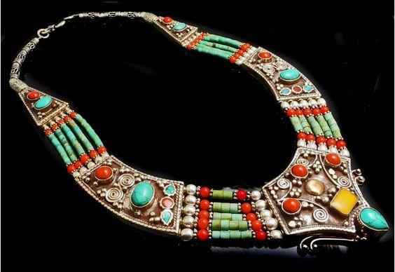 *Tibetan Silver Coral Turquoise Banjaras Necklace