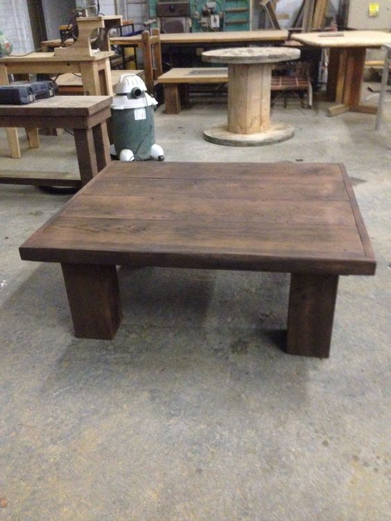 Dark Stained Chunky Leg Coffee Table Reclaimed Wood Coffee Tables Pinterest Stains