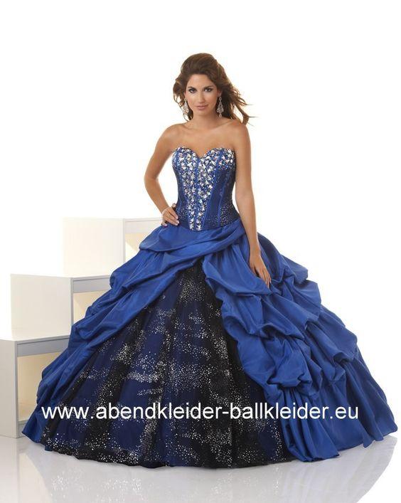 Ballon Kleid Sissi Kleid Ballkleid Abendkleid in Dunkel Blau