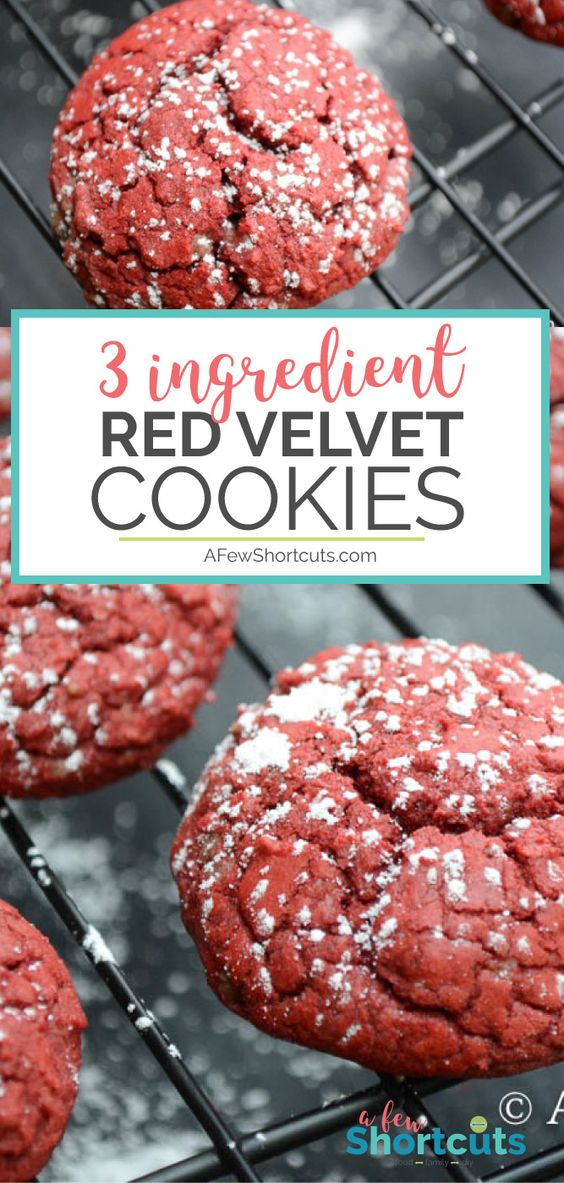A super simple cookie for those that LOVE Red Velvet! Try this 3 Ingredient Red Velvet Cookies Recipe! They make great Christmas Cookies!