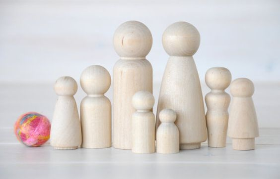 Family of 8 Wooden Peg Dolls Unfinished Wooden by CraftyWoolFelt