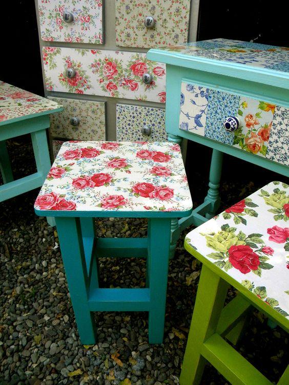 Combinación de colores y papeles acertada! Renueva tus muebles.: