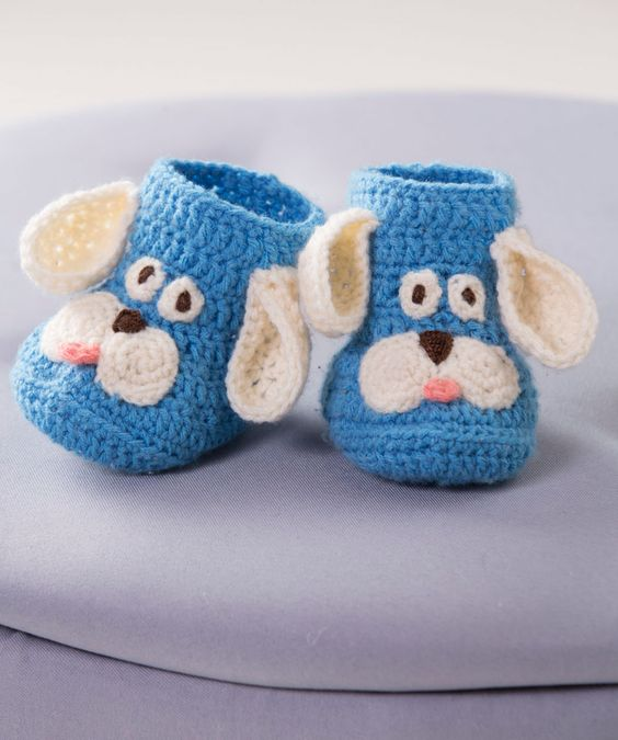 Puppy Booties Free Crochet Pattern from Red Heart Yarns (UK terms):