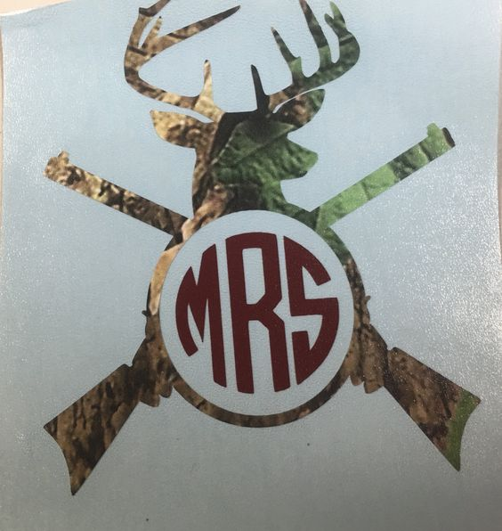 camo deer head and rifle guns personalized decal yeti tumbler with monogram or initials