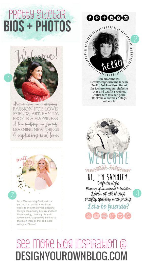 Blog sidebar author bios and profile photos - a showcase of pretty ones on DesignYourOwnBlog.com