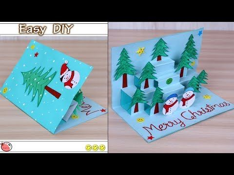 Very Easy Diy 3d Christmas Pop Up Card How To Make Christmas Tree Card At Home Craft Yout Christmas Cards Kids Christmas Tree Cards Diy Christmas Cards