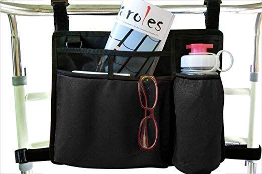 Folding Walker Bag Wheelchair Side Pouch Rollator Pouch Bed Rail Organizer Insulated Bottle Holder Zipper Pocket Key Holder Long Strap Black Review Walker Bag Insulated Bottle Pocket Key Holder