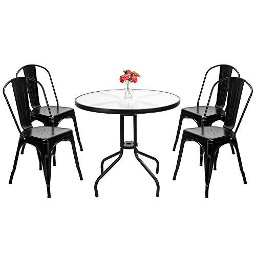 Henf Stackable Chair Metal Dining Chairs Set Of 4 Classic High