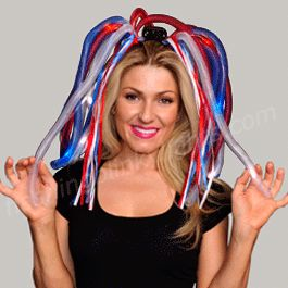 Like walkin' talkin' fireworks! Love our bouncy LED Noodle Headbands, way fun on Independence Day + keeps you visible on a dark holiday night; bonus.