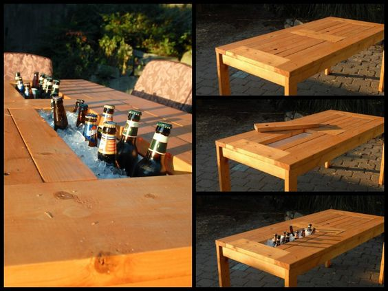 Wood patio wine chiller and diy patio on pinterest Picnic table with cooler plans