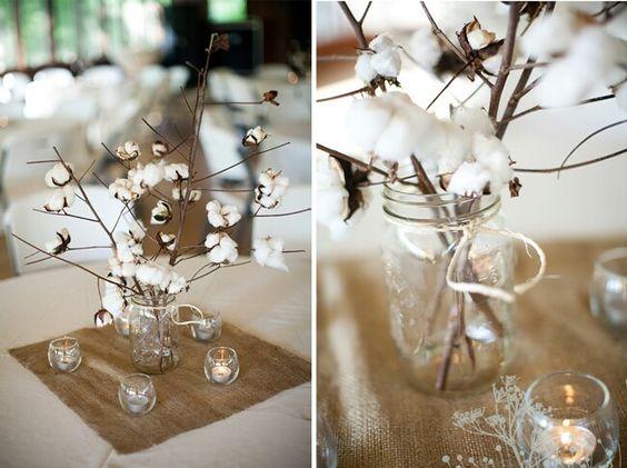 Decoration Mariage Fleur De Coton : Centre de table toile jute et fleurs coton
