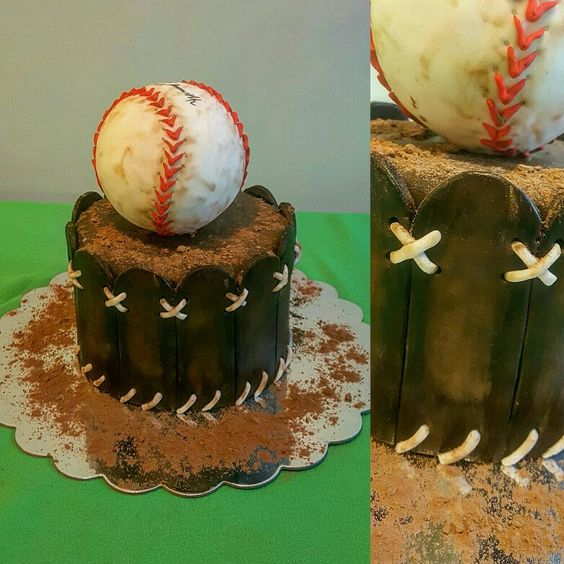 Baseball themed wedding cake! Perfect for serving matching cupcakes to the guests! #baseballcake #baseballwedding #themedwedding #ultimatefakecakes #fakecakes #fauxcakes