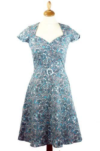 Aimee HEARTBREAKER Retro 60s Paisley Mod Dress | atomretro.com