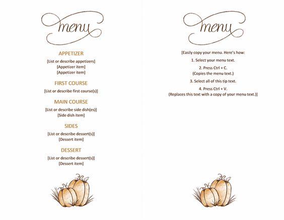 free downloadable printable Thanksgiving menu Templates – Microsoft Office Menu Template
