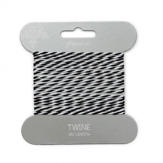 Black & white striped twine - 3m