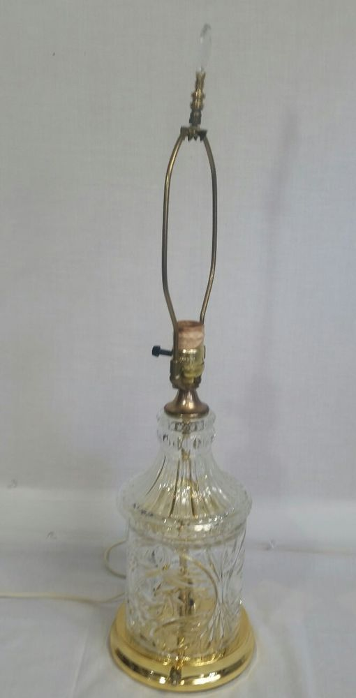 Vintage 24 Lead Crystal Glass Electric Table Lamp Brass W Interior Night Light Lamp Brass Table Lamps Lamp Light