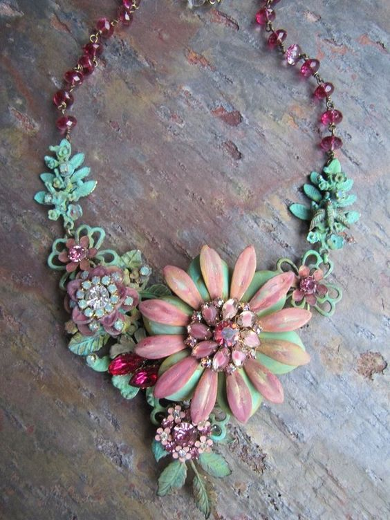 Set FIRE to the RAIN ... Romantic Statement BIB Necklace with Vintage French Chic and Boho Gypsy Charm