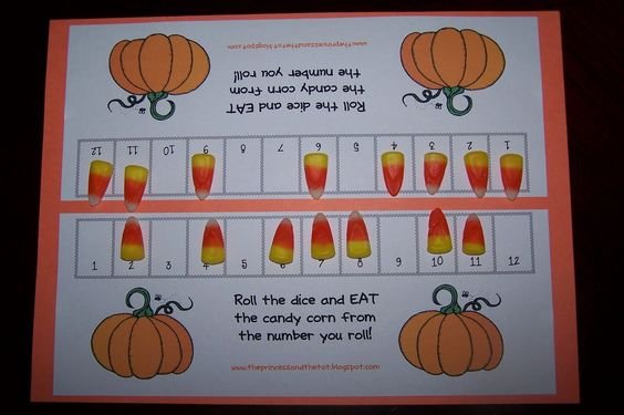 Do with sums. Roll 2 dice and eat the candy on the sum. First with cleared board wins...
