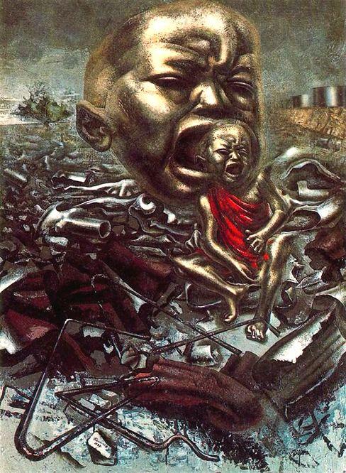 "Lienzo sobre madera. En MOMA, Nueva York David Alfaro Siqueiros  ""Eco por un grito"" (1937)"