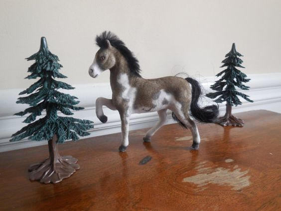 Vintage Flocked Fuzzy Model Horse Pony Figurines  by LittleMarin, $8.75