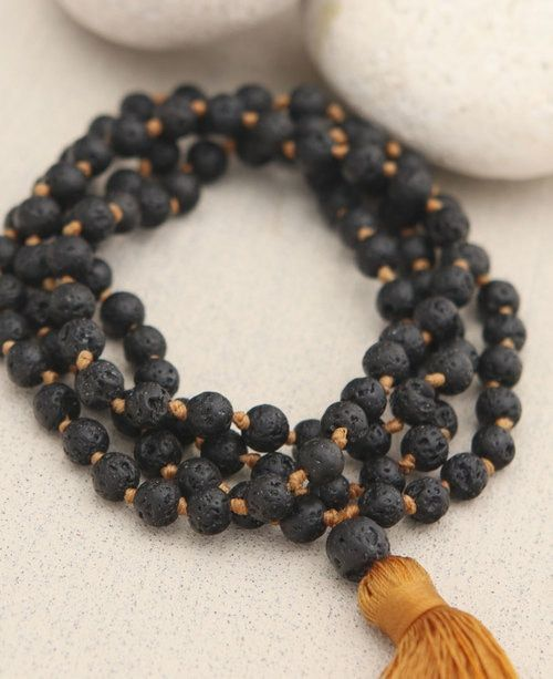 Mala Beads 108 Lava Beads Meditation Jewelry Prayer Necklace Rudraksha Mala Beaded Tassel Necklace Lava Mala Necklace Tassel Jewelry