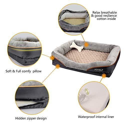 Joyelf Large Memory Foam Dog Bed Orthopedic Dog Bed Sofa With Removable Washable Cover And Squeaker Toy As Gift In 2021 Memory Foam Dog Bed Cool Dog Beds Orthopedic Dog Bed