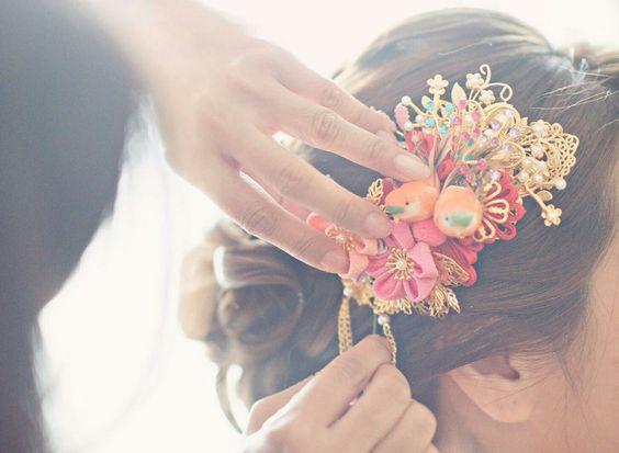 chinese bridal headpiece 中式頭飾 B&H wedding workshop