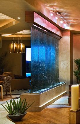 I 39 ve always loved the idea of a waterfall for a wall in my for Glass waterfall design