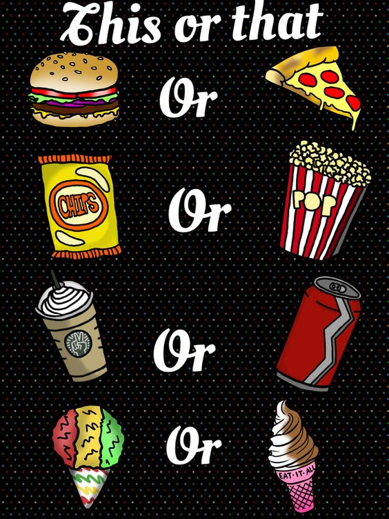 For me it would be Pizza, Chips, Frap, and then the snow cone.