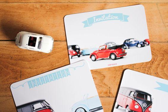 cartes d'invitation leshappyvintage.fr #cards #beetle #combi