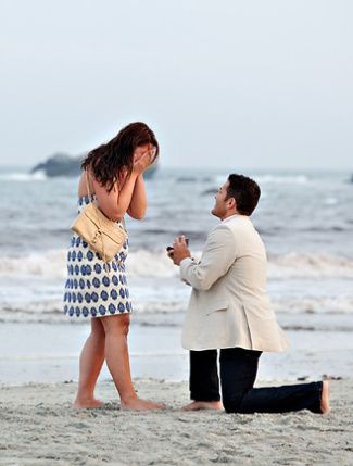 Beach Proposal  Barefoot on the beach is always romantic.