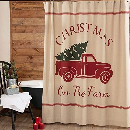 Piper Classics Christmas Tree Farm Shower Curtain 72 X 72 Red