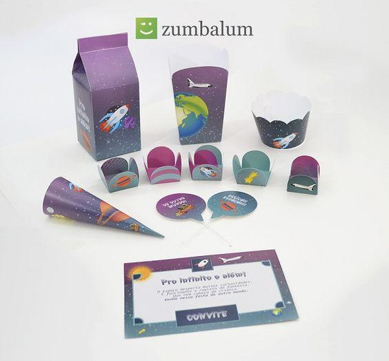 kit da Zumbalum para decoração de festa infantil no tema espaço! Mais temas AQUI: http://mamaepratica.com.br/2015/07/06/11-temas-e-kits-para-festa-infantil  #festa #bebês #kits #decoração #bebê #baby