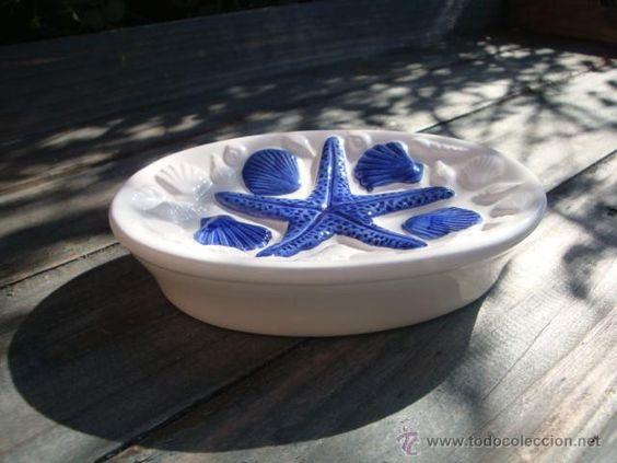 POSA-JABÓN DE CERÁMICA (Vintage - Decoración - Porcelanas y Cerámicas)